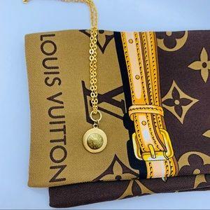 """Repurposed Louis Vuitton Rivets Necklace 12"""" Drop"""